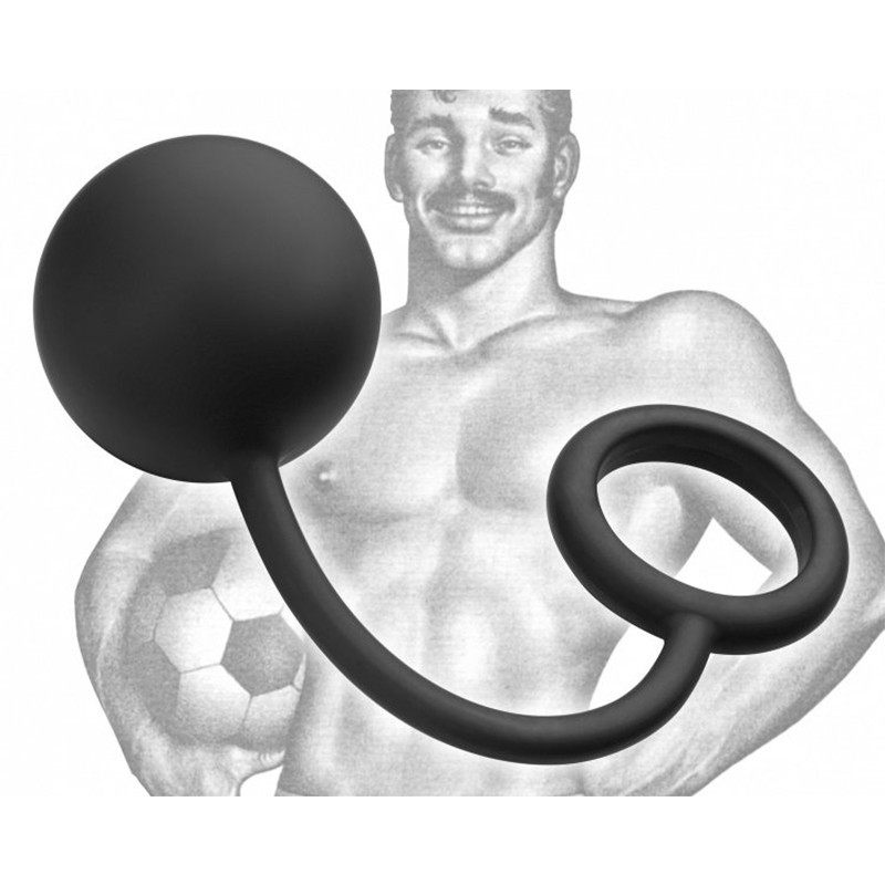 TOM OF FINLAND TOOLS - SILICONE COCK RING WITH HEAVY ANAL BALL