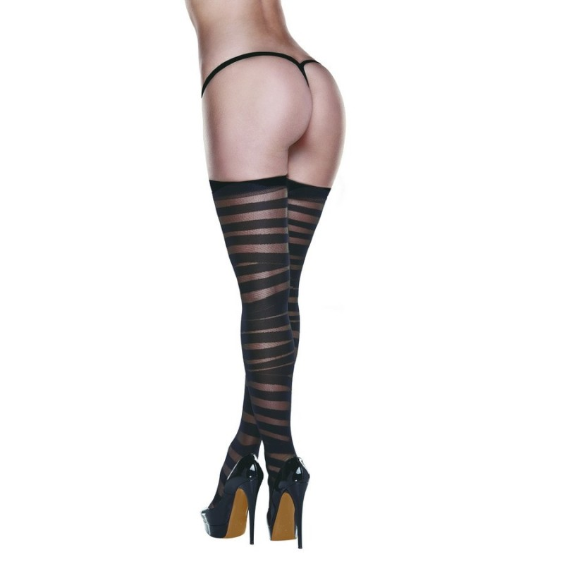 BACI - CRISS CROSS SHEER AND OPAQUE THIGH HIGHS WITH SILICONE STAY UP ONE S
