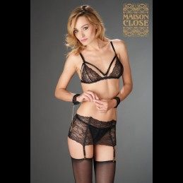 MAISON CLOSE - PETIT SECRET GARTER BELT WITH CUFFS IN LACE