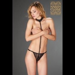 MAISON CLOSE - PETIT SECRET OPENABLE THONG WITH HARNESS IN LACE