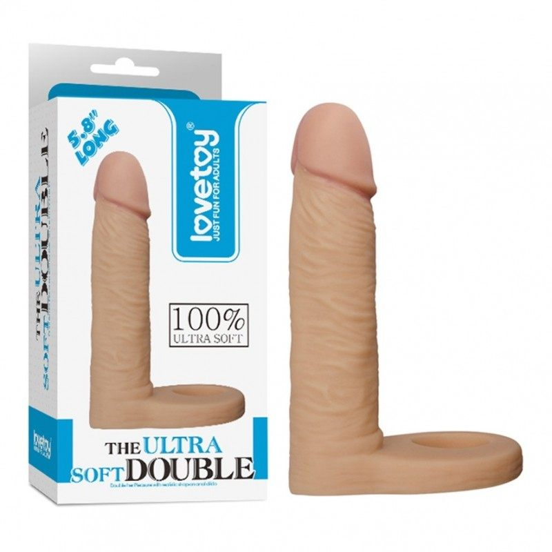 LOVETOY - REALISTIC ULTRA SOFT DOUBLE STRAP-ON COCK RING DILDO