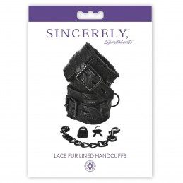 SPORTSHEETS - SINCERELY LACE FUR LINED HANDCUFFS