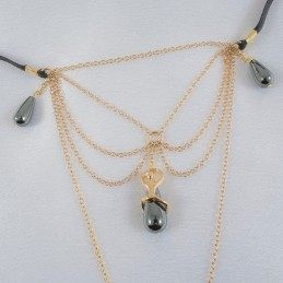 SYLVIE MONTHULE - WOMAN'S SECRET PASSION G-STRING HEMATITE PEARLS IN GOLD