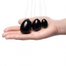 LA GEMMES - YONI EGG SET BLACK OBSEDIAN (L-M-S)