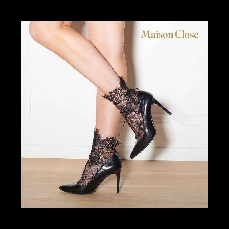 MAISON CLOSE - NAILON SOKID BLACK/LACE