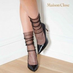 MAISON CLOSE - NYLON SOCKS BLACK/FISHNET