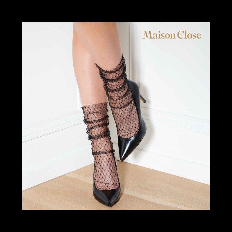 MAISON CLOSE - NYLON SOCKS BLACK/FISHNET