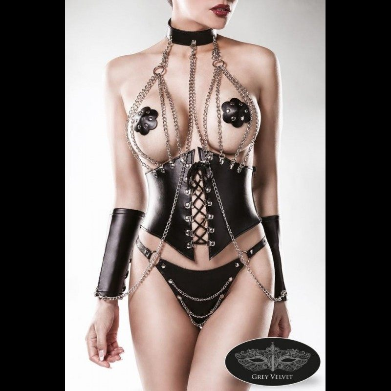 GREEN VELVET - 4 PIECE FETISH CORSAGE SET