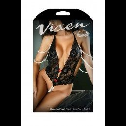 VIXEN - LACE BODYSUIT WITH PEARLS