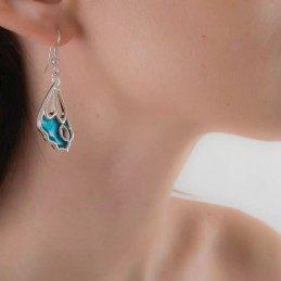 SILVER EARRINGS BLUE BUTTERFLY WINGS