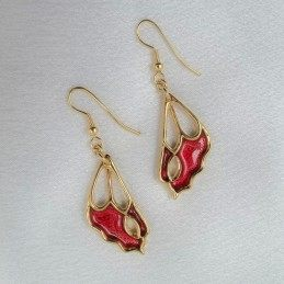 GOLD EARRINGS RED BUTTERFLY WINGS