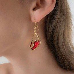 GOLD EARRINGS RED BUTTERFLY WINGS