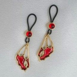 SYLVIE MONTHULE - RED BUTTERFLY WING GOLDEN NON-PIERCING NIPPLE RING JEWELRY