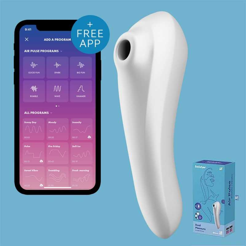 SATISFYER - DUAL PLEASURE AIR PULSE VIBRATOR WHITE