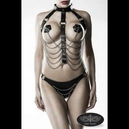 GREY VELVET - 3-OSALINE BDSM HARNESS KOMPLEKT ONE SIZE